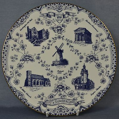 "Kirkholme ""City of Sunderland"" commemorative blue & white plate"