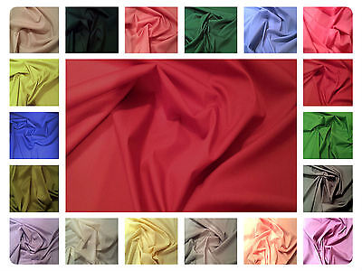 "100% Plain Cotton Poplin Fabric Dress Material - Solid Colours -44"" (112cm) Wide"