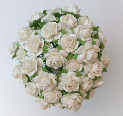 50 WHITE MULBERRY PAPER OPEN ROSES/FLOWERS 1cm (10mm) and 1.5cm (15mm)
