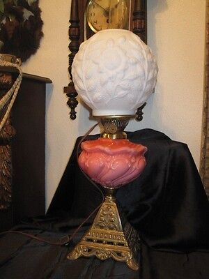GWTW Rose and White Satin Vintage Oil Lamp Glass Globe, Electrified