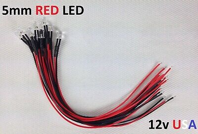 10x RED 5mm Pre Wired 12v Led Round Clear Lens Bulb USA
