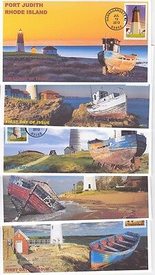 Jvc Cachets - 2013 Lighthouses - Set Of 5 With Shipwrecks First Day Cover Fdc