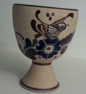 Mexican Folk Art Pottery Vase/cup hand painted stoneware
