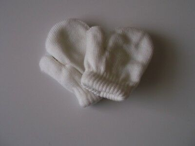 Baby mittens double thickness  ivory 0-12 months boy girl unisex winter