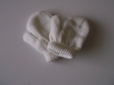 Baby mittens double thickness pink blue ivory 0-12 months boy girl unisex warm
