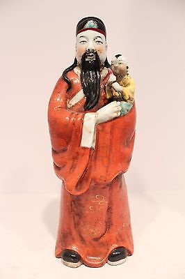 Beautiful Vintage Fuk Fook Porcelain Figurine/Statue Feng Shui Good Luck 15.5""