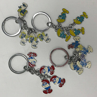 5X The Smurfs Keychain Smurfette Smurf Papa Clumsy Character Key Chain Ring Toy
