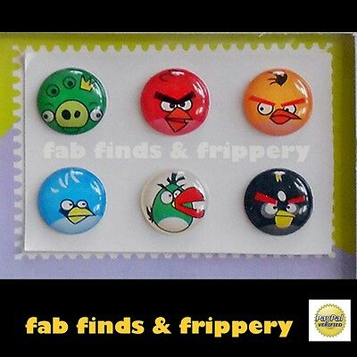 6 x ANGRY BIRDS Home Button Stickers for iPhone 3G/3GS/4/4S/5 iPad iPod Touch