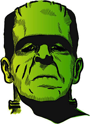 Frankenstein giallo verde green yellow Франкенштейн etichetta sticker 9cm x 13cm