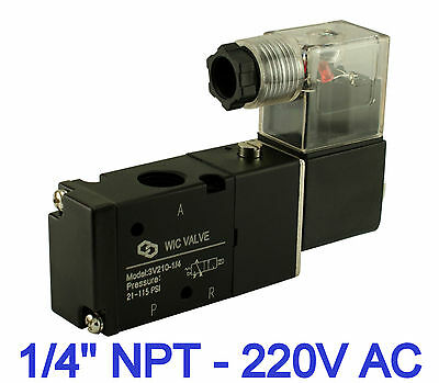 "1/4"" Inch Pneumatic 3 Way 2 Position Electric Solenoid Air Valve 1 Coil 220V AC"