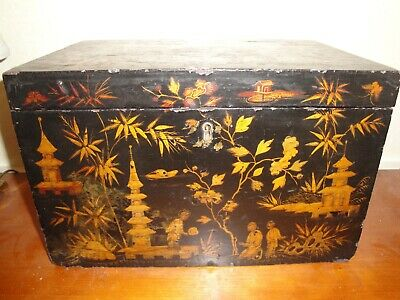 "Circa 1840 Gilded Black Lacquer Large CHINOISERIE Box 13""x8""x9"" Export Trade"