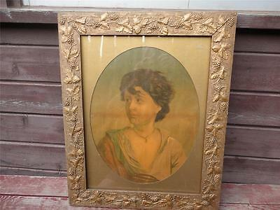 Antique Framed Victorian Woman Lady Print in Great Grape Leaf Gold Gesso Frame
