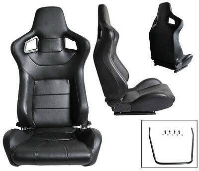 2 Black Pvc Leather Reclinable Racing Seats For All Ford ****