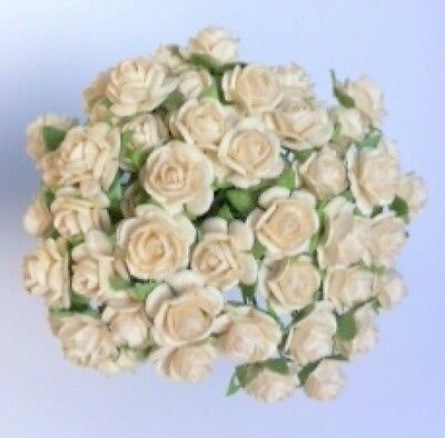 50 IVORY MULBERRY PAPER OPEN ROSES/FLOWERS 1cm (10mm) and 1.5cm (15mm)