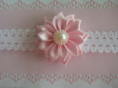 Assorted Colors Newborn/Baby/Toddler/Girl Headband/ Dbl Layer Satin Flower/Pearl