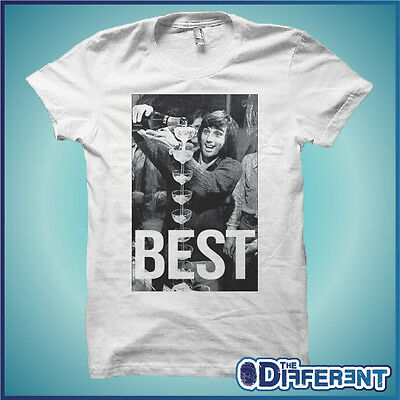 T-Shirt Foto George Best Moet  Bianco  The Happiness Is Have My T-Shirt New