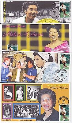 Jvc Cachets - 2013 Althea Gibson Black Heritage Set Of 4  First Day Covers Fdcs