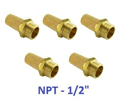 "Brass Solenoid Valve Silencer Connector NPT 1/2"" Noise Reduce Muffler 5 Pieces"