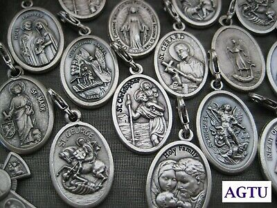 PICK YOUR SAINT SMALL CLIP ON Silver Saints Religious Patron Charm Medal Italy