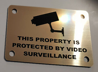 GOLD not brass VIDEO SURVEILLANCE SIGN, CCTV- 10cmX7cm with mounting holes
