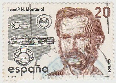 (SPA127) 1987 Spain 20p black & brown fine used ow2928