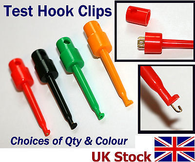 4 pack Test Hook Probe Clips, for Multimeter, IC, PCB, Components - UK Stock