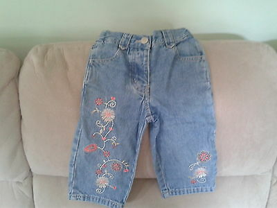 Girls 3 Years - Blue Denim Cropped Jeans with Floral Embroidery - Adams