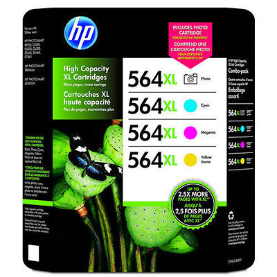 4 Pack Color Set Genuine HP 564XL Photo Bk Cyan Magenta Yellow Ink Cartridges