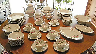 FINAL MARKDOWN! Set China 8+ Hutschenreuther Germany Moss Rose, Sylvia, Silver