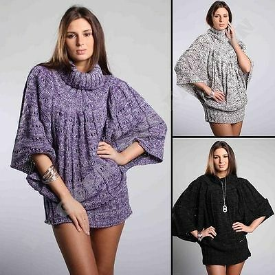 New Ladies Womens Jumper Knitted Batwing Tunic Sweater Turtleneck size M/L 10/12