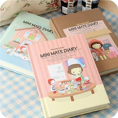 """Mini Mate"" Hard Cover Diary Cute Planner Pocket Notebook Korean Journal Gift"