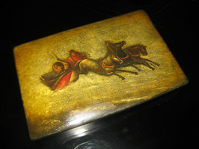 Antique Russian Early Soviet Art Ussr Fedoskino Lacquer Box Troika 1920 Moderne