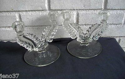 Antique Elegant Pair Glass Double Candle Holders~Great Shape, Pretty Etchings