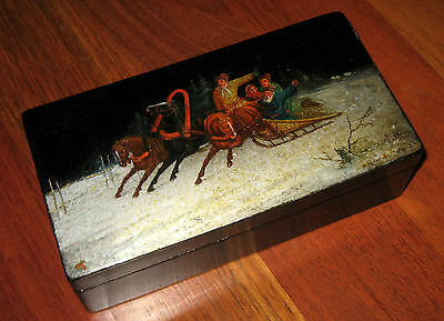 """Antique Russian Early Soviet Art Ussr Fedoskino Lacquer 6 3/4"""" Box Troika 1920"""
