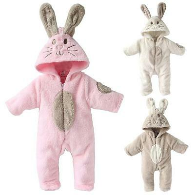 Baby Girl Fleece Animal Romper Bunny Outfit Rabbit Suit Cream Brown Pink 3-12 M