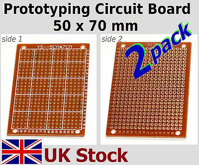 2x Prototyping Circuit Board. 50 x 70mm DIY Prototype Matrix Stripboard PCB - UK