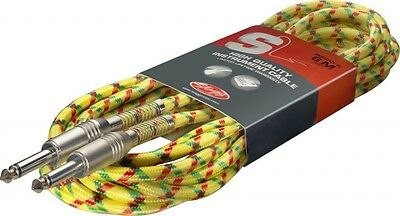 Vintage Tweed Guitar Bass Instrument Cable High Quality Colour Choice 6 Meter
