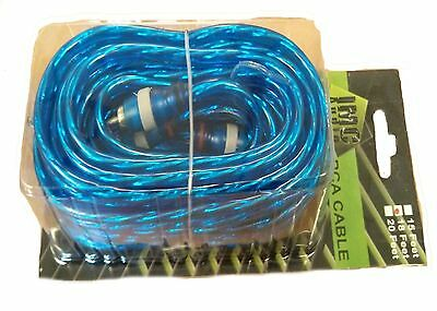 New 2 Channel 15 Foot Blue Rca Cable Gold Plated Car Stereo Home Feet