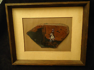 ROCK ART & PAINTING M DENNIS OF AZ FRAMED INDIAN & PONY JASPER W/ NATURAL GLASS