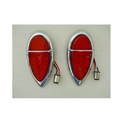 (2) 1938 - 1939 Ford 39 LED Red Stop Turn Brake Tail Lights / Baby Zephyr Style