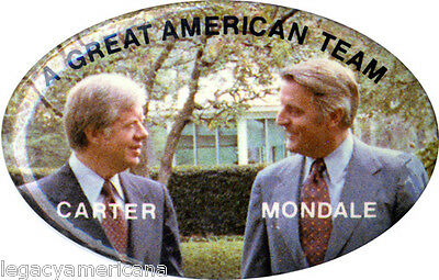 1980 Carter Mondale GREAT AMERICAN TEAM Campaign Button (1980)