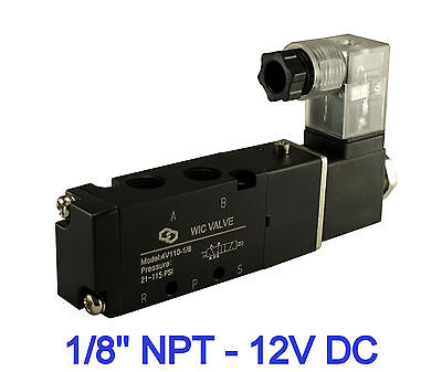 "Pneumatic 4 Way Electric Directional Control Air Solenoid Valve 12V DC 1/8"" Inch"