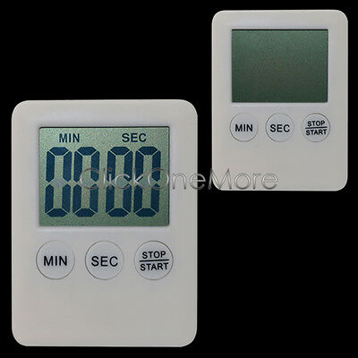 Magnetic LCD Digital Kitchen Timer Count Up Down Egg Cooking Alarm White - EZI