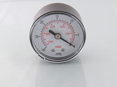 Vacuum Gauge 50mm -0-1000mBar- 30inHg-0  1/4 BSPT Male Rear connection       G32