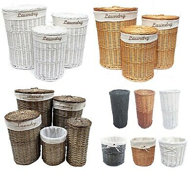 Brown White Honey Wicker Round Laundry Basket Bin Toilet Roll Holder + Lining