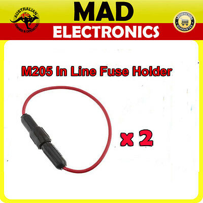 2 x In Line Glass M205 Fuse Holder with lead