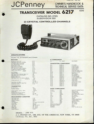 Original Factory JC Penney 6217 23 Channel CB Radio Owner's/Service Manual