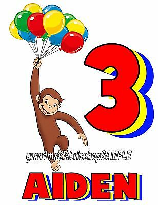 Curious George Personalized Birthday T Shirt #3 ADD NAME AND AGE.PARTY FAVOR TEE