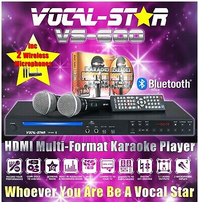 Vocal-Star Vs-600 Cdg Dvd Usb Karaoke Machine Player 2 Wireless Mics & 300 Songs