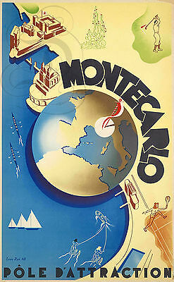 Repro Affiche Monte Carlo Pole Attraction Carte Sur Papier 310 Ou 190 Grs